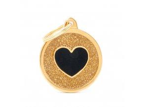 GOLD BIG GLITTER CIRCLE BLACK HEART