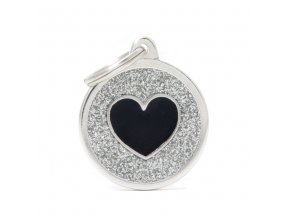 GREY BIG GLITTER CIRCLE BLACK HEART