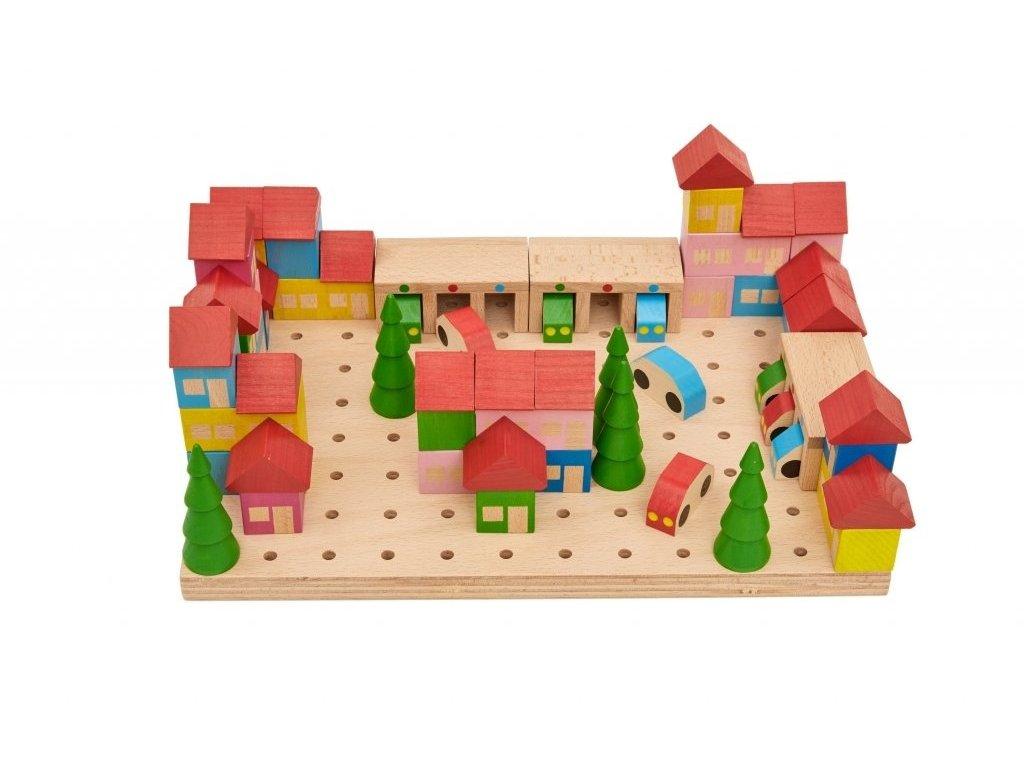 Dřevěná stavebnice - Městečko - 67 dílů
