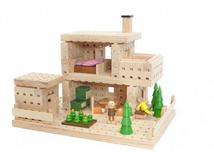 Dřevěná stavebnice BUKO -Chata 180 dílů