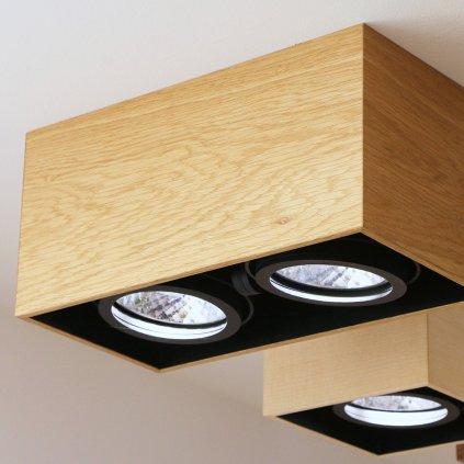dřevěné svítidlo hranaté