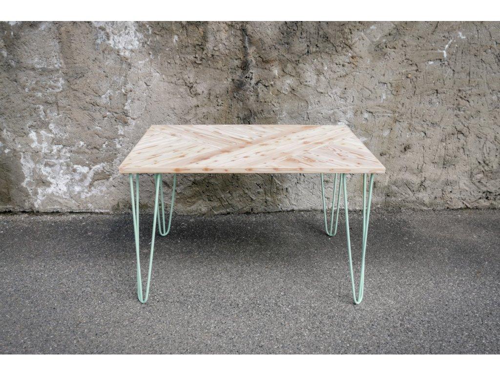 Stůl hravý modřín barevná podnož WEB 1