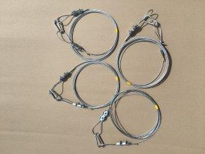 Sada ocelových lan cca (4ks) o tloušťce 3mm se svorkami + karabiny