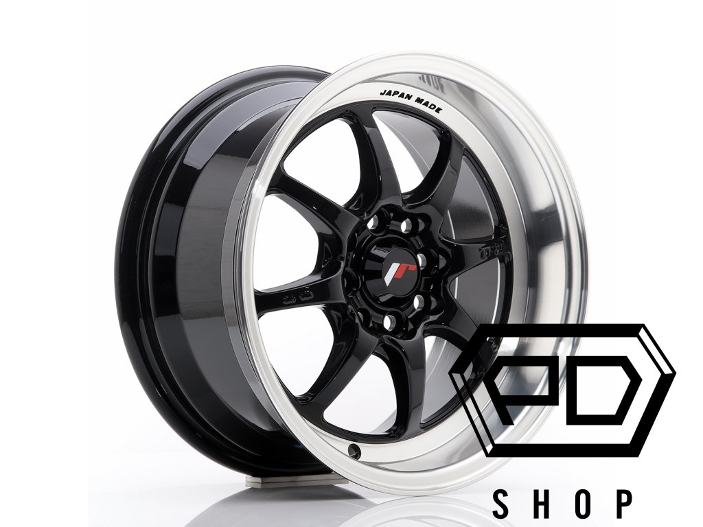 JR Wheels TF2 15x7,5 ET30 4x100/114 Gloss Black (ET 30, Rozteč 4x114,3)