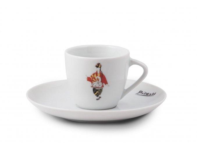 Šálek Picasso červený na espresso s podšálkem