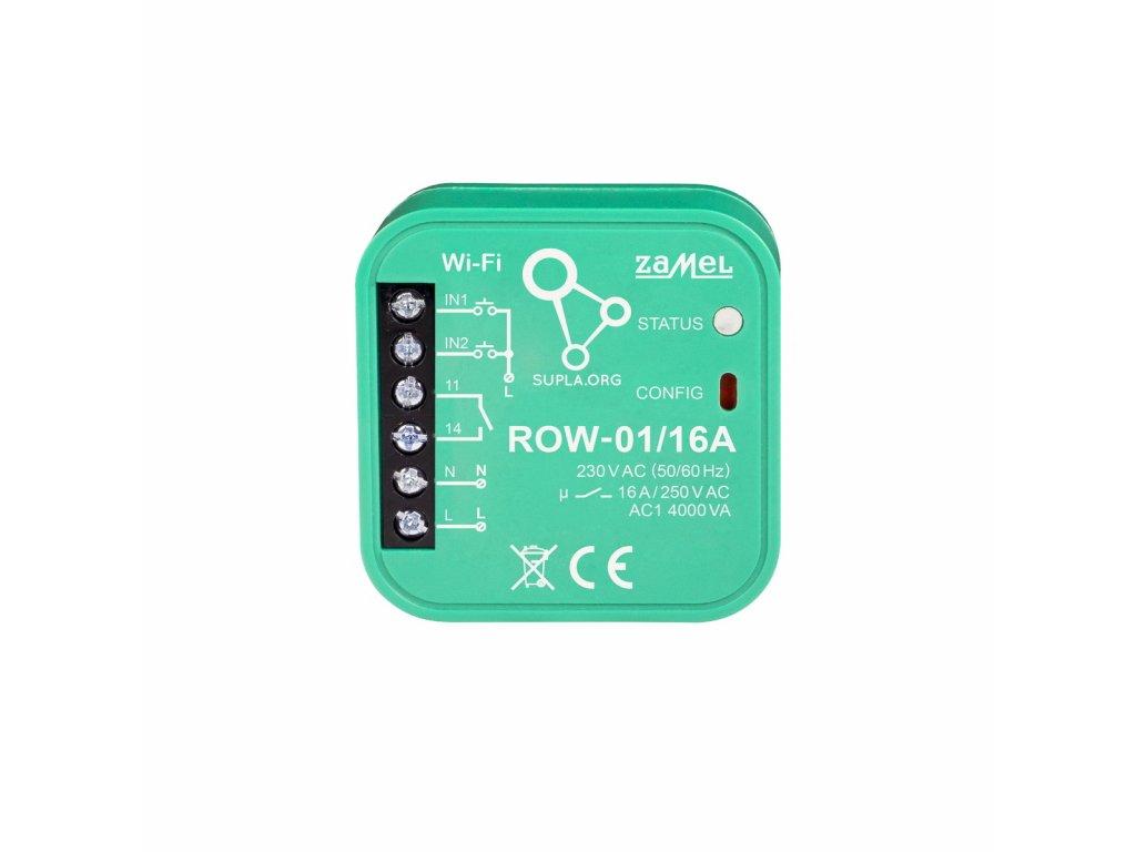 ROW-01/16 A | Wi-Fi 1x16 A spínací modul světel a el. zásuvek, SUPLA, 2 vstupy