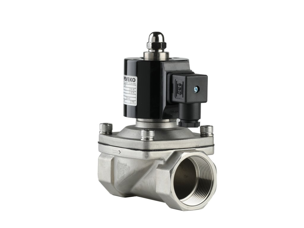 MVPE A /N - Nerezový elektromag. ventil na vodu, pitnou vodu, vzduch, 7 bar, EPDM, NC