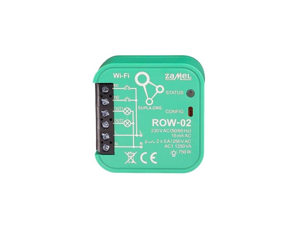 ROW-02 | Wi-Fi spínací 2 x 5 A modul světel a el. zásuvek, SUPLA, 2 vstupy, 2 výstupy