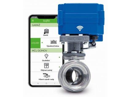 Inteligentní ventil na vodu s WiFi či SMS ovládáním, záložní baterii, přípravou pro bezdrátová čidla, model SMART