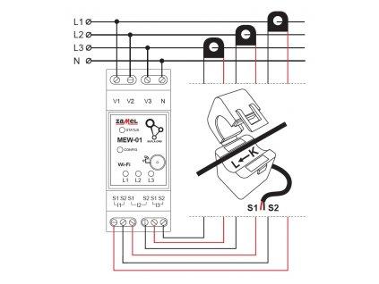 MEW 01 - Snímač pro měření spotřeby elektřiny s Wi-Fi a přístupem přes internet, 3 fáze
