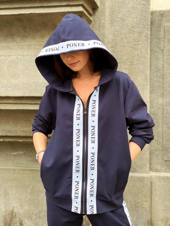 Pánská tmavě modrá mikina PONER s kapucí