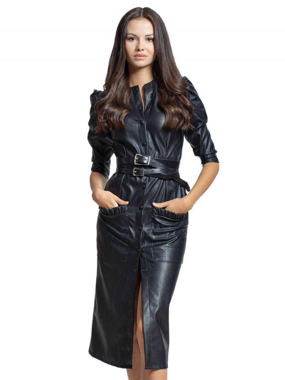 Koženkové šaty s druky MOLLIS, PONER