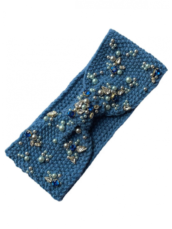 Pletená čelenka PRESL - modrá, PONER