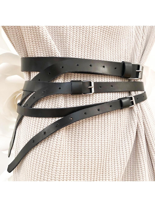 Kožený pásek TRIO BLACK SILVER