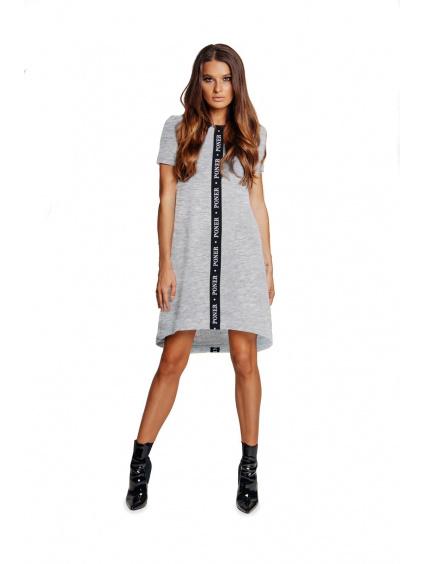 PONER šaty šedé s krátkým rukávem