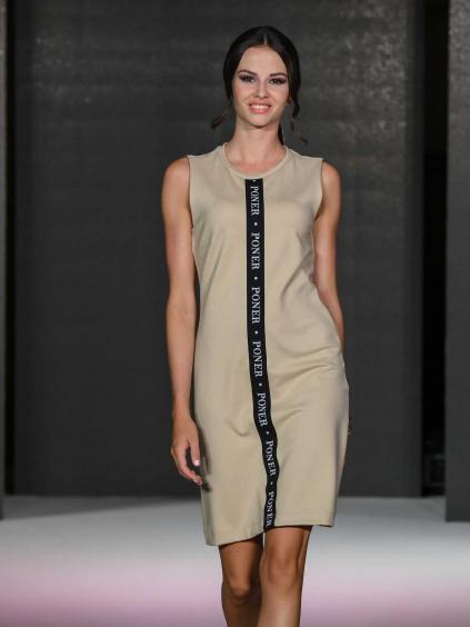 Šaty bez rukávů s černobílou gumou PONER