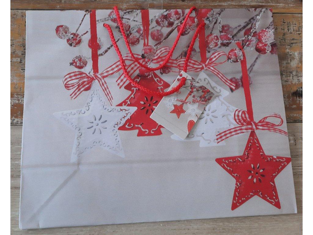 Vánoční taška - hvězdy - střední