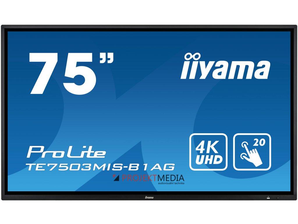 75'' iiyama TE7503MIS-B1AG: IPS, 4K, 350cd/m2, 24/7, iiSignage, WiFi, 2x Touch Pen, HDMI, VGA, DP,USB