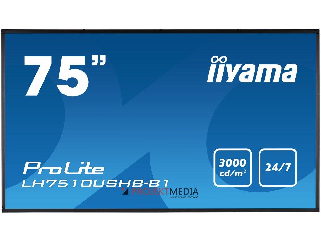 75'' iiyama LH7510USHB-B1: IPS+, 4K, 3000cd/m2, 24/7, DVI, HDMI, DP, RS-232c, černý