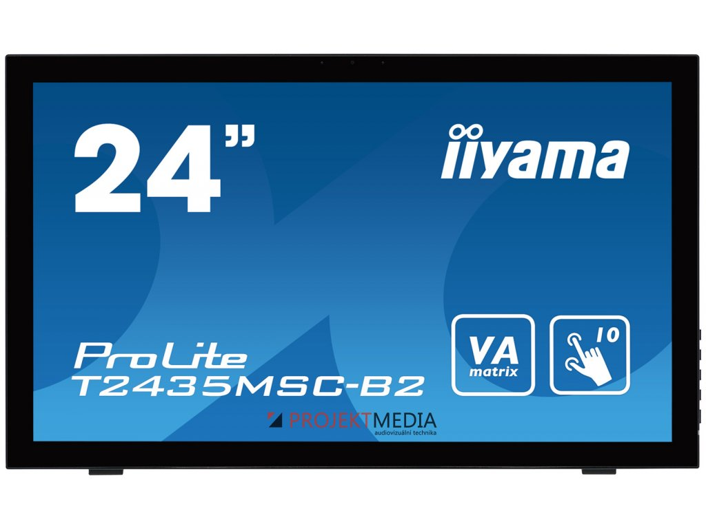 24'' LCD iiyama T2435MSC-B2 - 6ms,250cd/m2,DVI,HDMI, DP,USB,multidotek,kapacitní,kamera+mikrofon