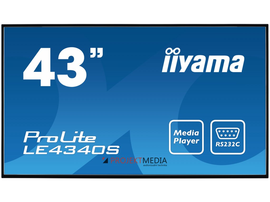 43'' LCD iiyama ProLite LE4340S-B1 -FullHD,AMVA, 8ms, 350cd, USB 2.0 media player, RJ45, RS232C,repro