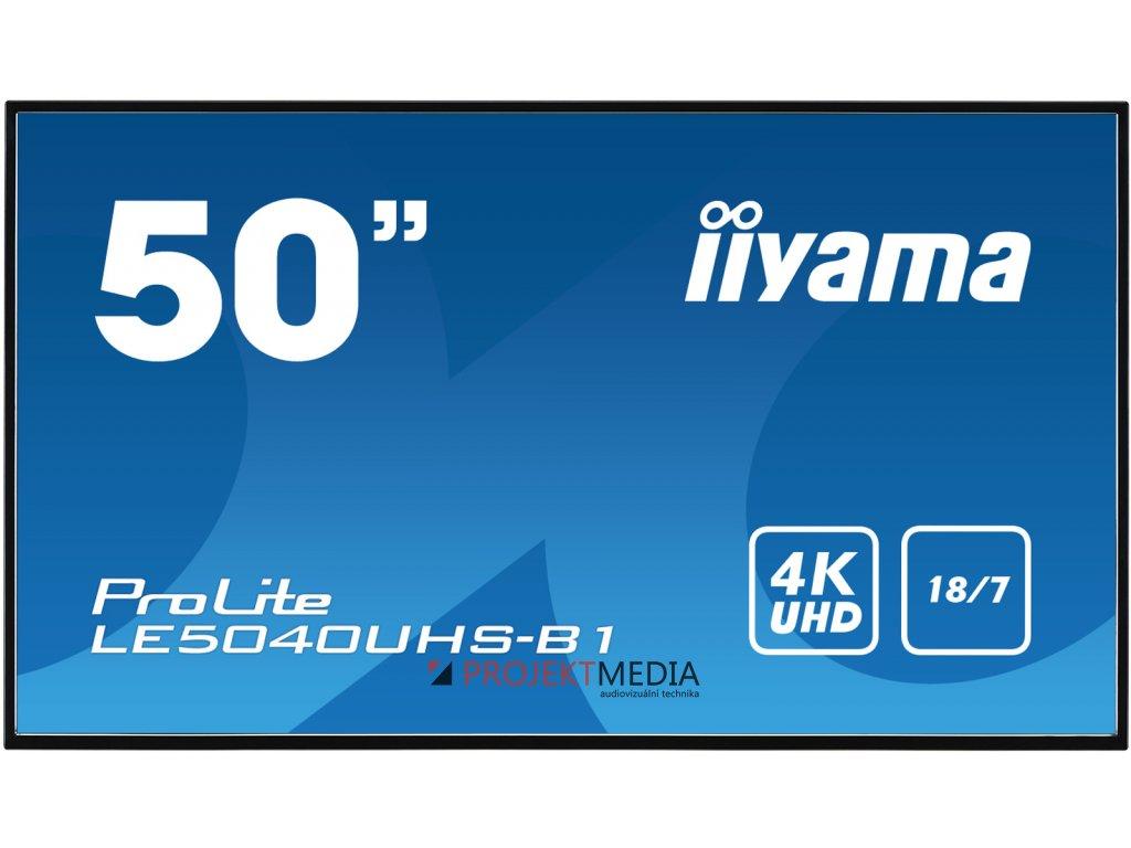 50'' iiyama LE5040UHS-B1 - AMVA3,4K UHD,8ms,350cd/m2, 4000:1,16:9,VGA,HDMI,DVI,USB,RS232,RJ45,repro.
