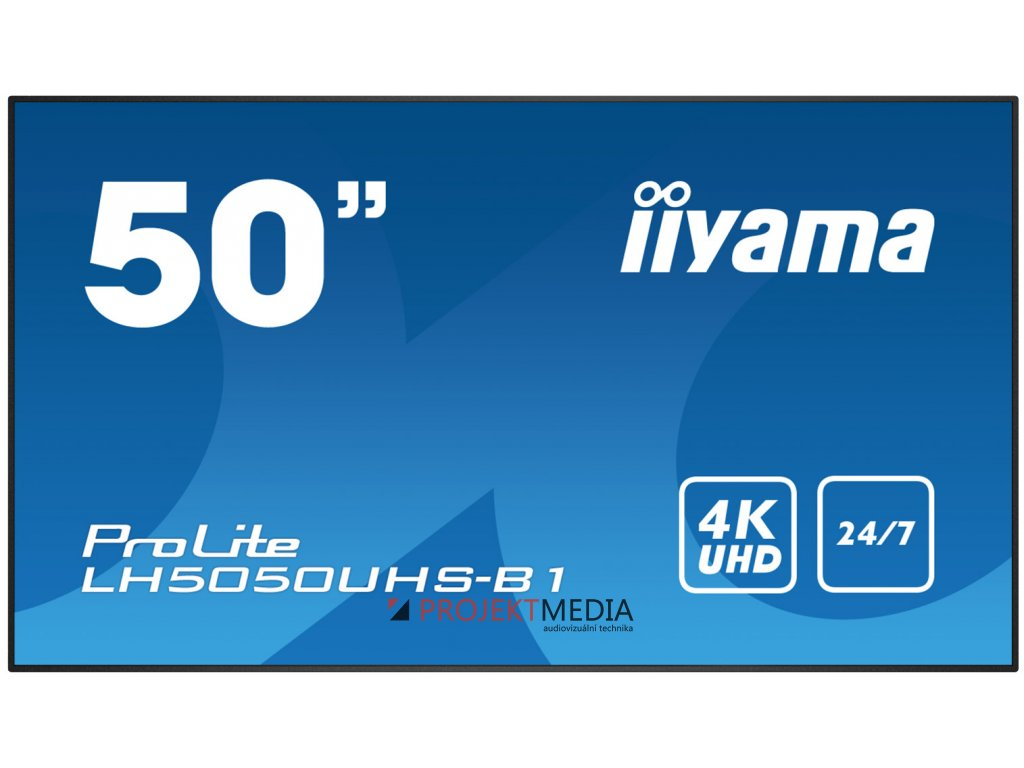 50'' iiyama LH5050UHS-B1 - AMVA3,4K UHD,8ms,450cd/m2, 4000:1,16:9,komponent.,HDMI,DP,USB,RS232,repro.