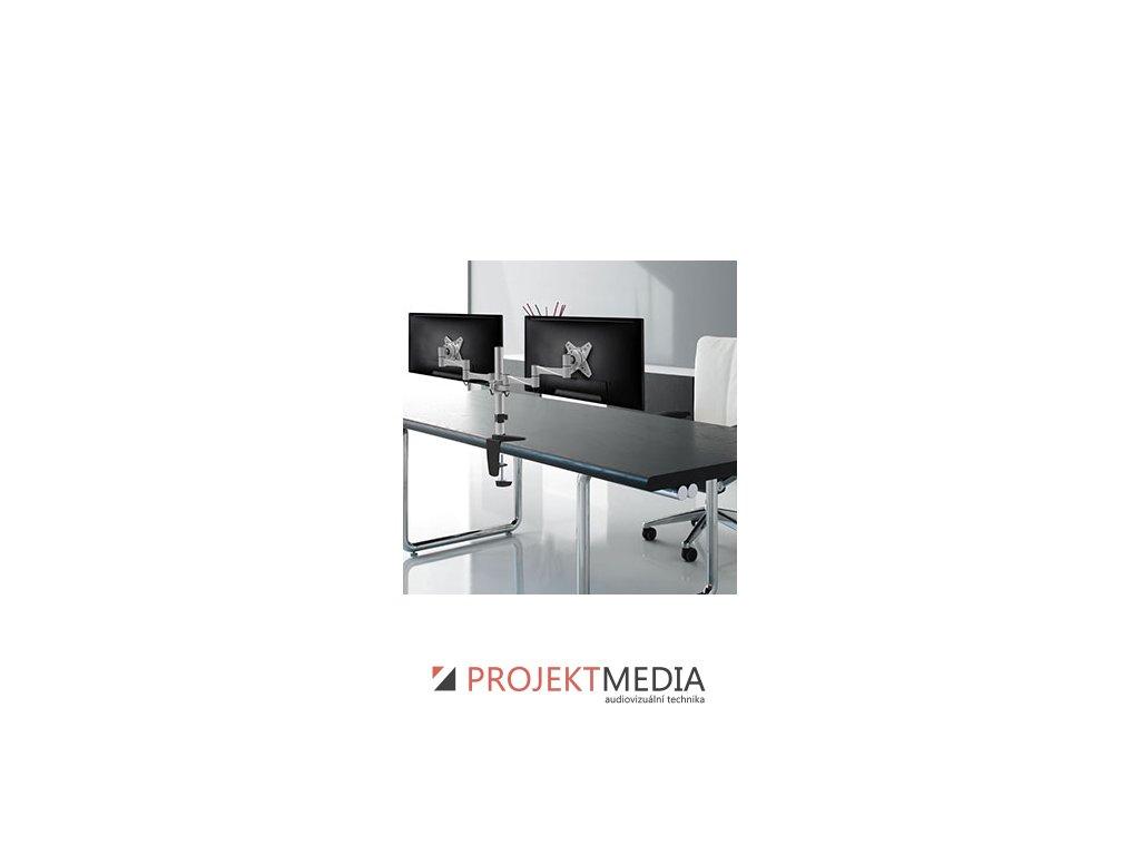 NewStar Flat Screen držák na 2 PC monitory 10-27'', 9 kg, VESA 75x75 nebo 100x100 mm, stříbrný