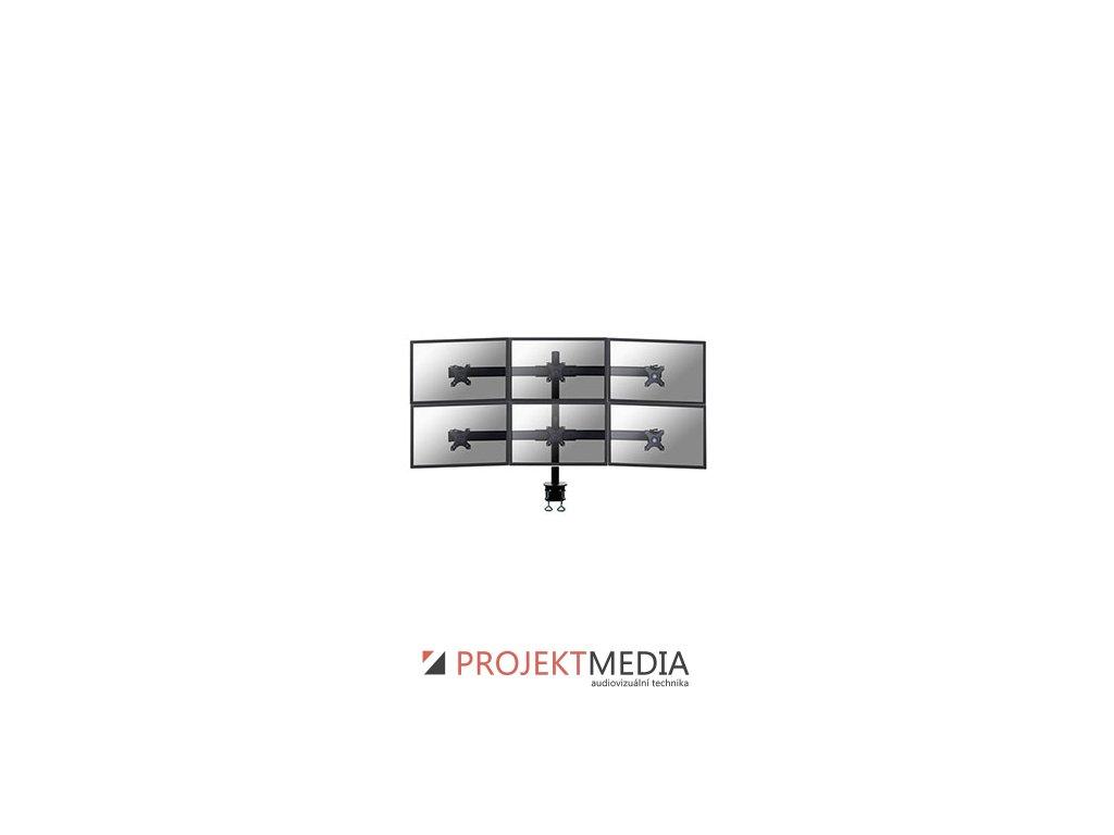 NewStar Flat Screen držák na 6 PC monitory 10-27'', 8kg, VESA 75x75 nebo 100x100 mm, černý