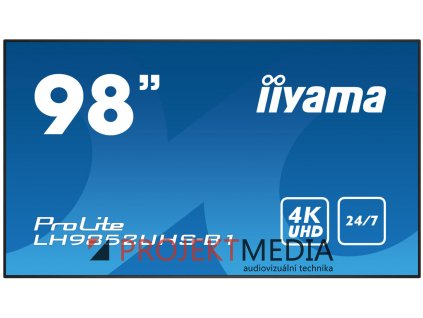 98'' iiyama LH9850UHS-B1 - S-IPS,4K UHD,8ms,500cd/m2, 1300:1,16:9,komponent.,HDMI,DP,USB,RS232,repro.