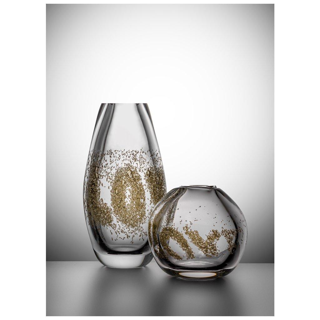 Skleněná váza Love