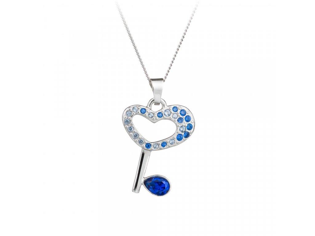 5513 stribrny privesek key klic s ceskym kristalem preciosa modry