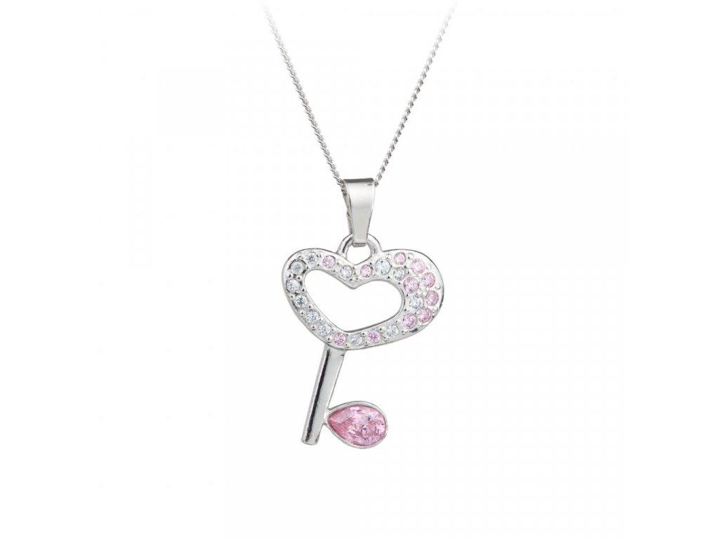 5519 stribrny privesek key klic s ceskym kristalem preciosa ruzovy