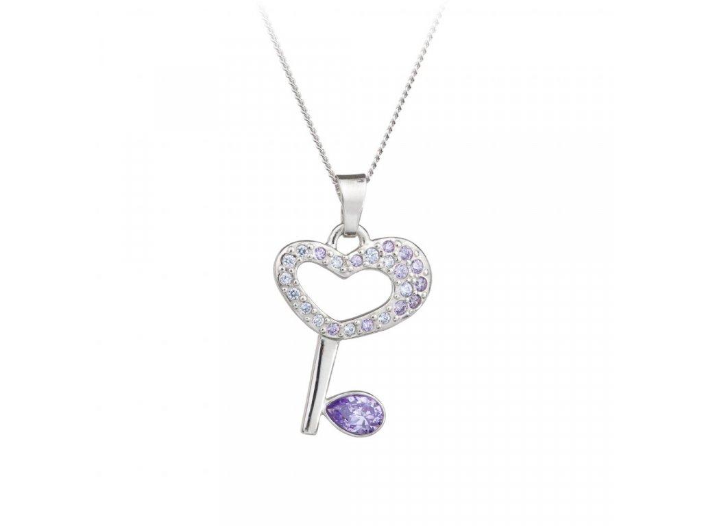 5516 stribrny privesek key klic s ceskym kristalem preciosa fialovy