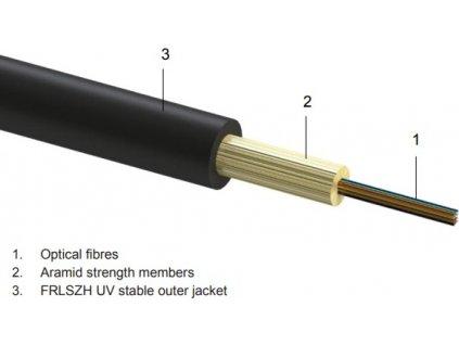 DROP FTTx 8 optická vlákna singlemode 9/125, G.657A BLACK LSOH - 1.000 metrů