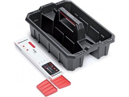 Přepravka na nářadí s přepážkami CARGO PLUS černá/červená 300x300x133