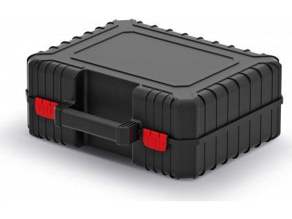 Kufr na nářadí s upevňovacími páskami HEAVY černý 384x335x144mm