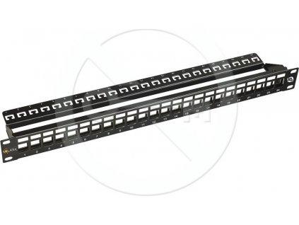 STP 10G modulární neosazený patch panel SOLARIX, 24 portů, 1U, black