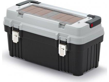 Kufr na nářadí s kov. držadlem a zámky OPTIMA šedý 586x296x305 (krabičky)