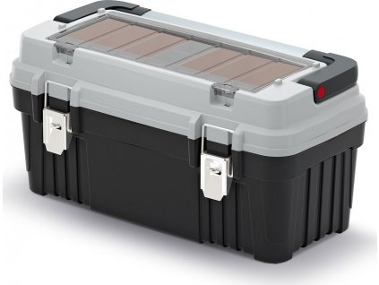 Kufr na nářadí s kov. držadlem a zámky OPTIMA šedý 540x278x269 (krabičky)