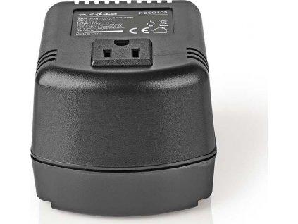Power Converter | Síťové napájení | 230 VAC 50 Hz | Výstupní napětí: 110 VAC | 100 W | Zásuvka typu F | Vybaven pojistkou | Černá