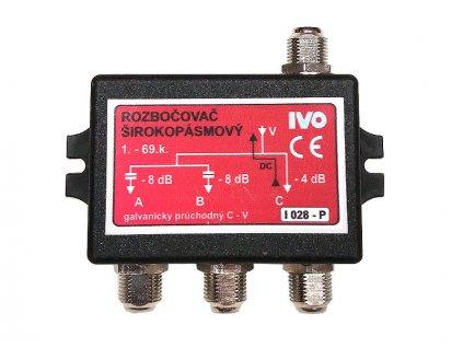 """Ivo I028-P širokopásmový rozbočovač 3x výst.""""F"""" 1x průchozí nap."""