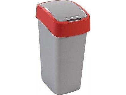 Koš Curver® FLIP BIN 10l, šedostříbrná/červená, na odpadky