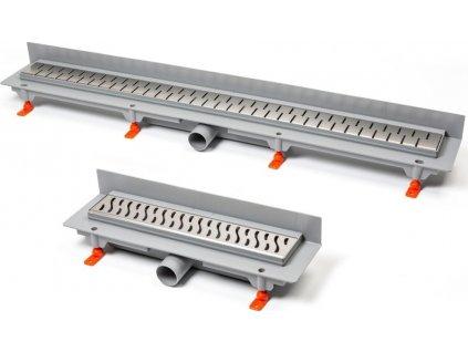 Podlahový linear. žlab ke stěně 850 mm,boční D40,medium mat