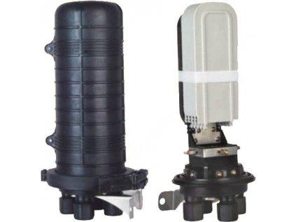 08VM4 Vodotěsná optická spojka, zemní/zeď/stožár,48vláken 4x6, 4prostupy,matice,415x206mm