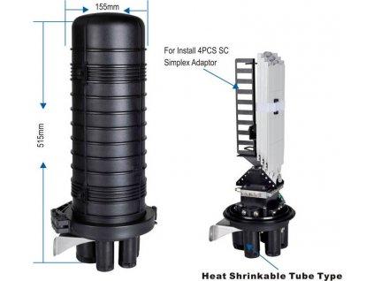 08V5 Vodotěsná optická spojka , zemní/zeď/stožár, 72vl, 5 konusových vstupů, 510x230