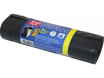 Sáčky na odpad LDPE se zatahovací páskou, 35l, 15k