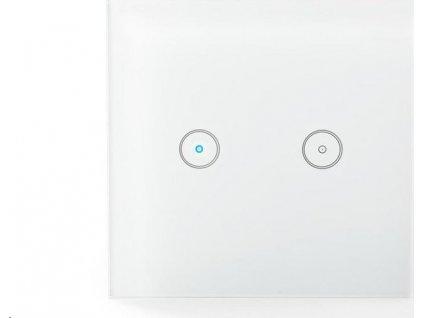 SmartLife nástěnný vypínač   Wi-Fi   Dvojitý   Nástěnný Držák   86 mm   86 mm   1000 W   Android™ & iOS   Sklo   Bílá