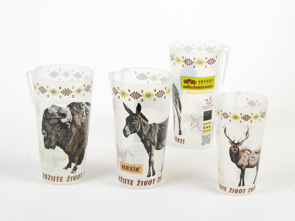 Plastové kelímky (bizon, oslík, jelen)