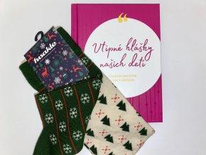 Vianočné balenie Vtipné hlášky našich detí + ponožky zn. Fusakle